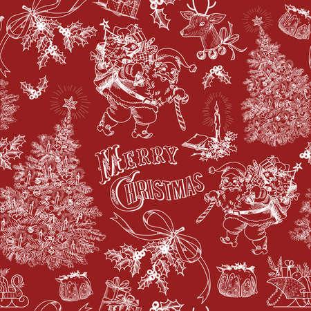 Red Vintage Christmas pattern   イラスト・ベクター素材