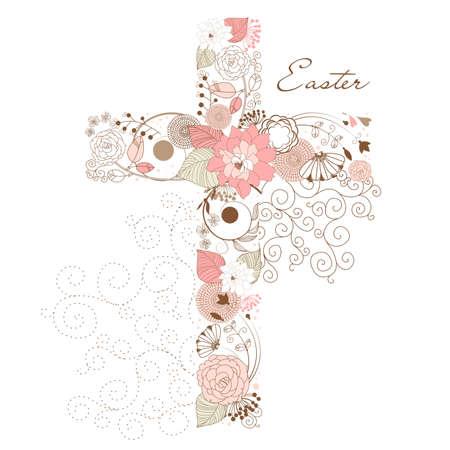 pasqua cristiana: Bella croce a base di fiori Vettoriali