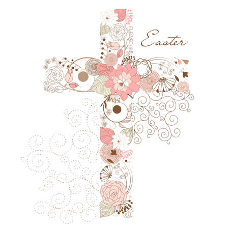 Beautiful cross made from flowers  Vectores