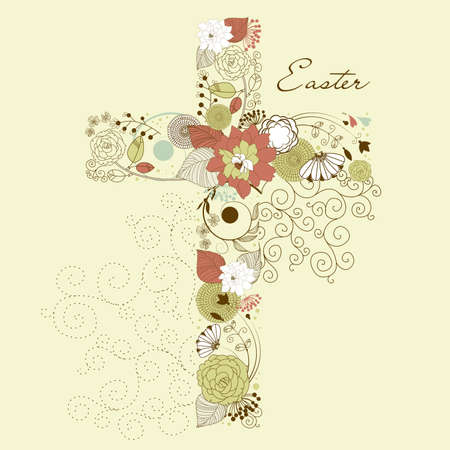 baptist: Beautiful cross made from flowers, Easter card Illustration