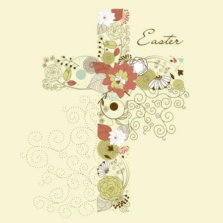 pasqua cristiana: Bella croce a base di fiori, carta di Pasqua