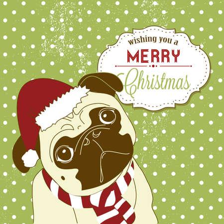 Christmas Pug! Cute little gog in santa hat Vettoriali