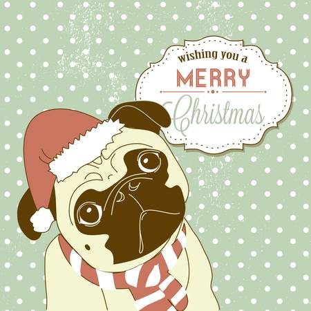 pug dog: Christmas Pug! Cute little gog in santa hat Illustration
