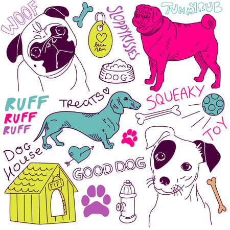 love Dogs! doodles set  矢量图像