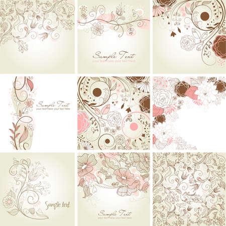 かわいい花柄グリーティング カードのセット  イラスト・ベクター素材