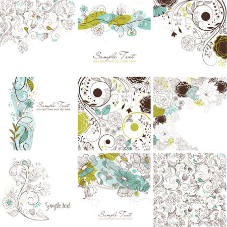 Set of cute floral greeting cards  Vettoriali