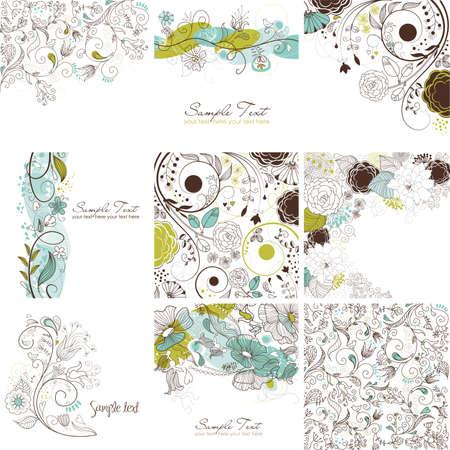 Verzameling van cute floral wenskaarten  Stock Illustratie