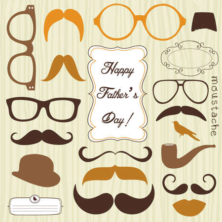Happy Father's day background, spectacles and mustaches, retro style  Illustration