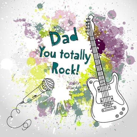 rock guitarist: Happy Fathers Day card, with guitar and microphone