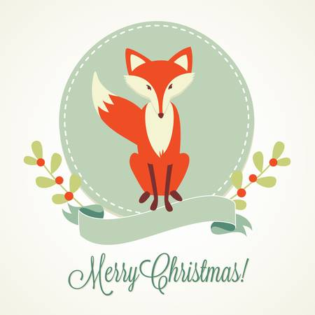 Christmas background, Fox, frame and ribbon
