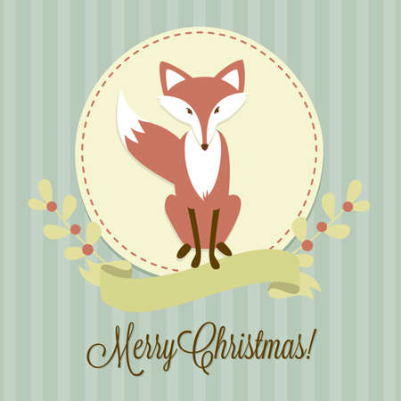 Christmas background with a Fox, frame and ribbon