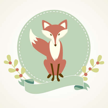vintage postcard: A Fox, frame and ribbon
