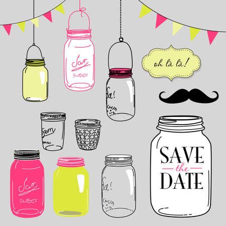 vendange: bocaux en verre, des cadres et mignons milieux continus. Id�al pour les invitations de mariage et sauvent les invitations de date