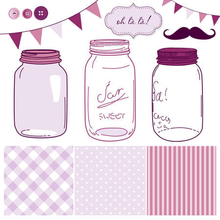 scrapbook homemade: Glass Jars, frames and cute seamless backgrounds. Ideal for wedding invitations.  Illustration