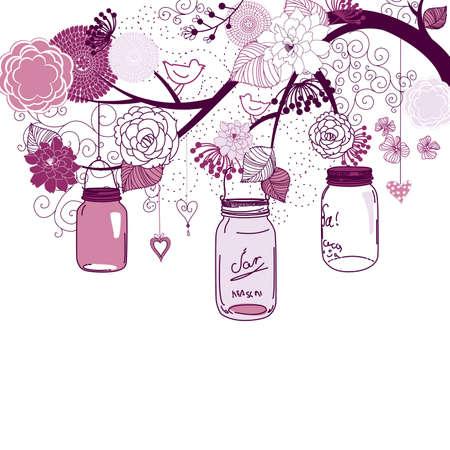 mermelada: Antecedentes de verano floral. Frascos de vidrio colgando de un brunch
