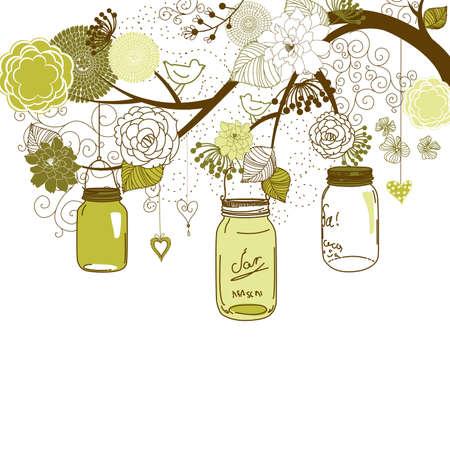 PICKLES: Antecedentes de verano floral. Frascos de vidrio colgando de un brunch