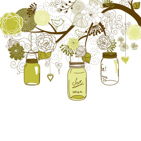 brunch: Floral summer background. Glass jars hanging from the brunch