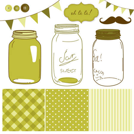 Glass Jars, frames and cute seamless backgrounds. Ideal for wedding invitations. Stock Vector - 20468371