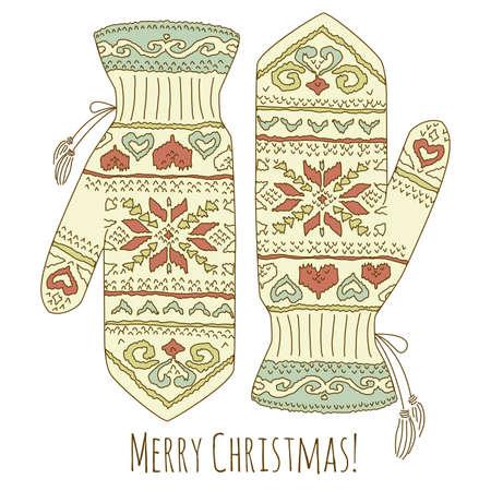 ミトンと流行に敏感なクリスマス カード  イラスト・ベクター素材