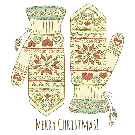 knitted background: Hipster Christmas card with mittens  Illustration