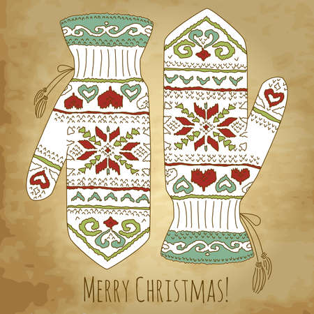 Hipster Christmas card with mittens Vector