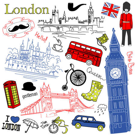 bandiera inghilterra: Londra doodles