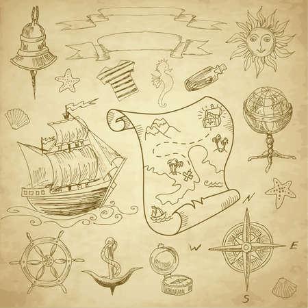 Doodle Sea vintage elements Vettoriali