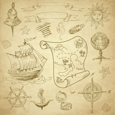 geografia: Elementos vintage Mar Doodle