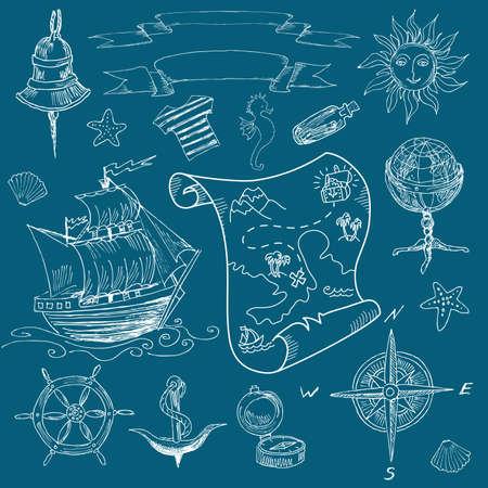 Doodle Sea vintage elements Illustration