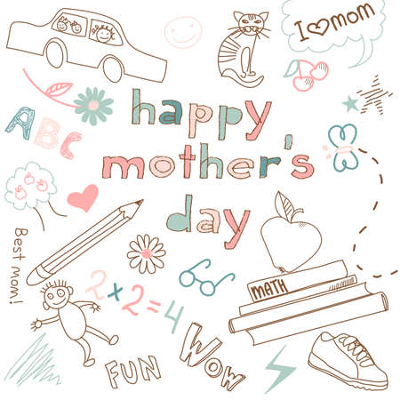 Mothers day card in a style of a Childs drawing  Vector