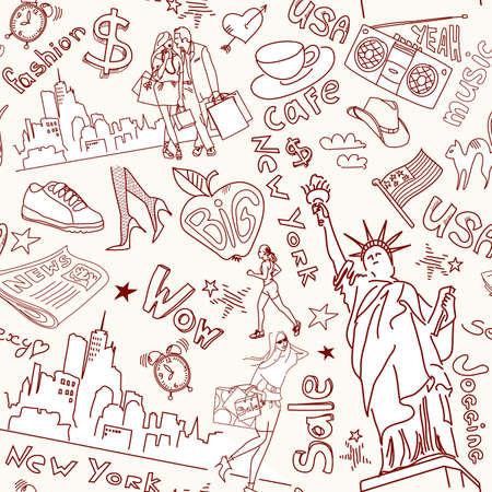 New York seamless doodles pattern Vectores
