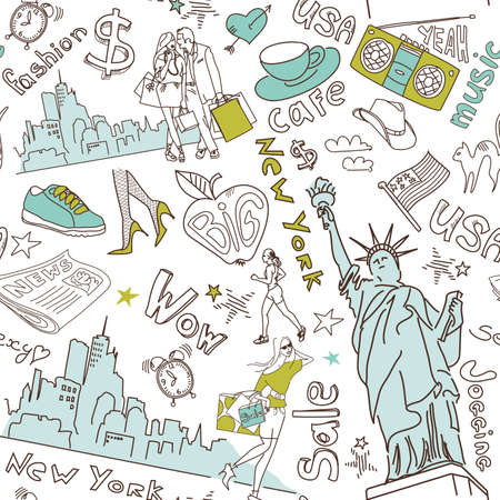 new york skyline: New York seamless doodles pattern Illustration