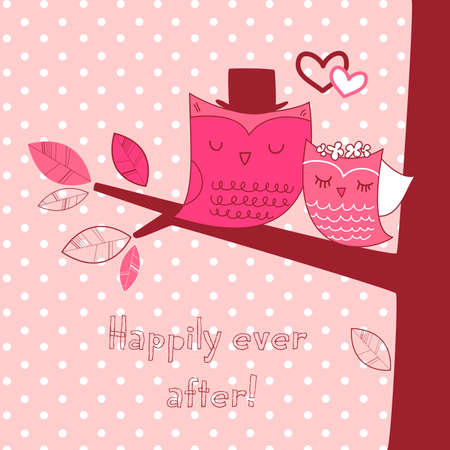 greeting card background: Two cute owls on the tree branch, Romantic Valentines Card