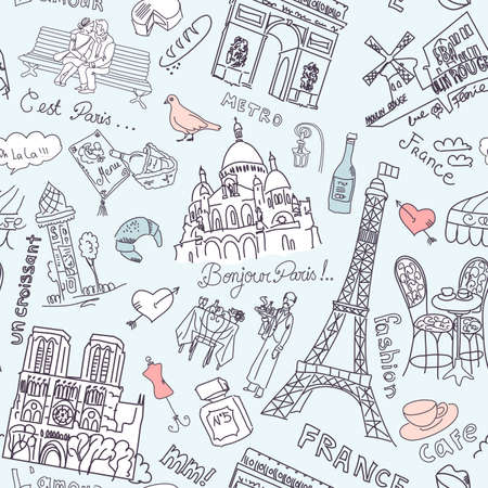 coeur: Sightseeing in Paris seamless doodles background