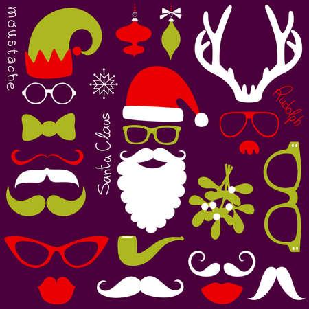 레트로 파티 세트 - 산타 클로스 수염, 모자, 사슴 뿔, 활, 안경, 입술, 콧수염을 일러스트