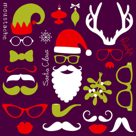 fake mustaches: Retro Party set - Santa Claus beard, hats, deer antlers, bow, glasses, lips, mustaches