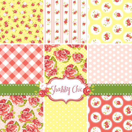 green and yellow: Shabby Chic Rose Patterns and seamless backgrounds. Ideal for printing onto fabric and paper or scrap booking.  Illustration