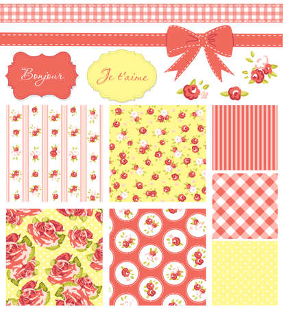 corals: Vintage Rose Pattern, frames and cute seamless backgrounds. Ideal for printing onto fabric and paper or scrap booking.