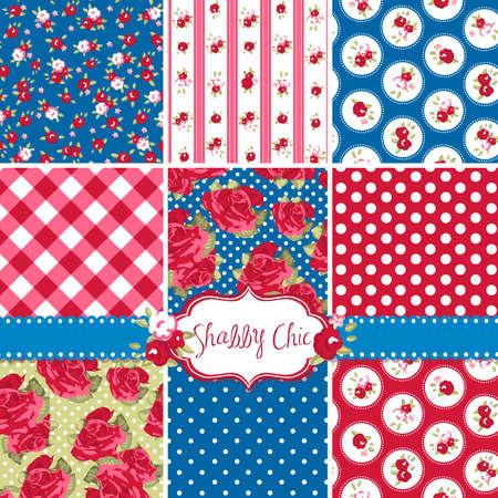 ferraille: Shabby Chic Rose Patterns et d'horizons sans soudure. Id?al pour l'impression sur tissu et papier ou scrapbooking. Illustration