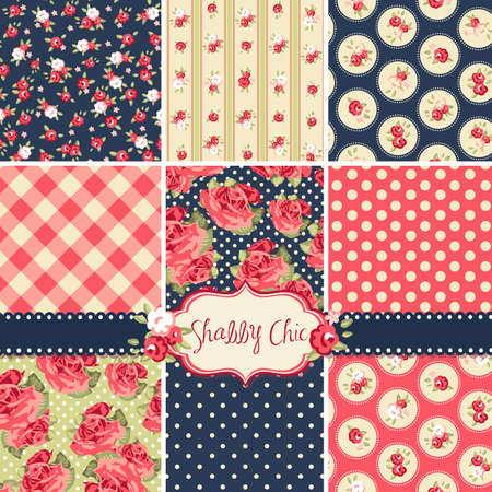 Shabby Chic Rose Patterns and seamless backgrounds. Ideal for printing onto fabric and paper or scrap booking.  向量圖像