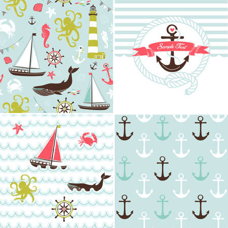 A set of 4 nautical backgrounds, blue, red, green and white seamless patterns  Vector