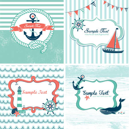 Set of 4 Nautical cards Imagens - 20468443