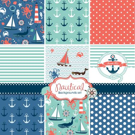 A set of 9 nautical backgrounds, blue, red and white seamless patterns  Stock Illustratie