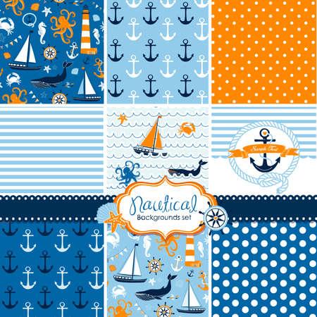 Een set van 9 nautische achtergronden, blauw, rood en wit naadloze patronen