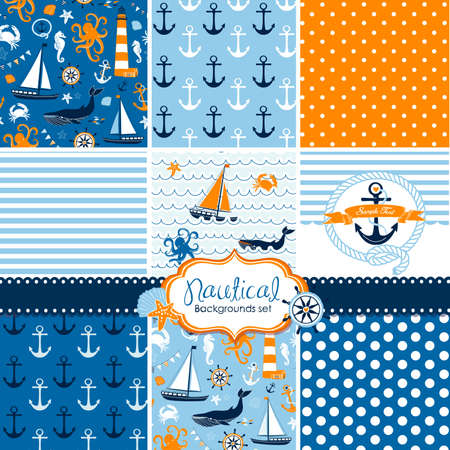 A set of 9 nautical backgrounds, blue, red and white seamless patterns  Vectores