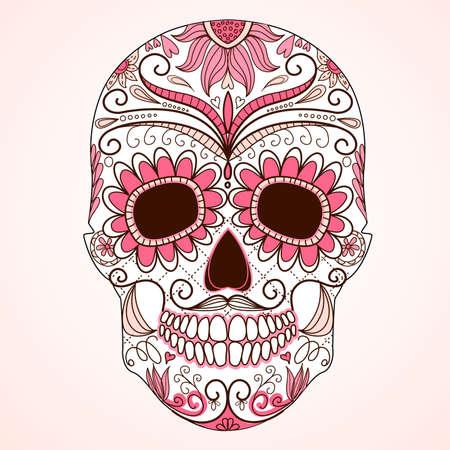 skull and flowers: D?del cr?o muerto colorido con el ornamento floral