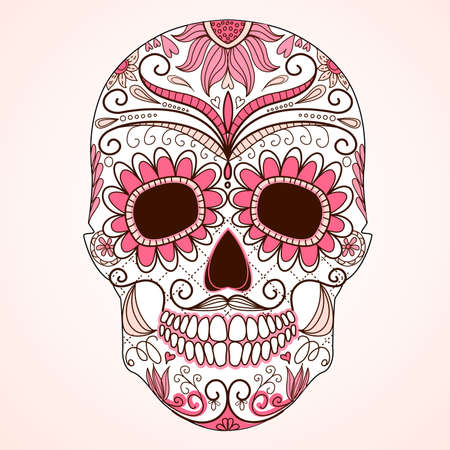 skull tattoo: Day of The Dead colorful Skull with floral ornament