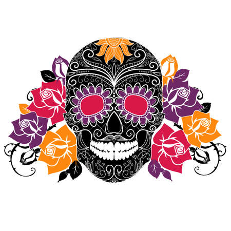 skull and flowers: Cr?neo y rosas, D?a colorido de la tarjeta Dead