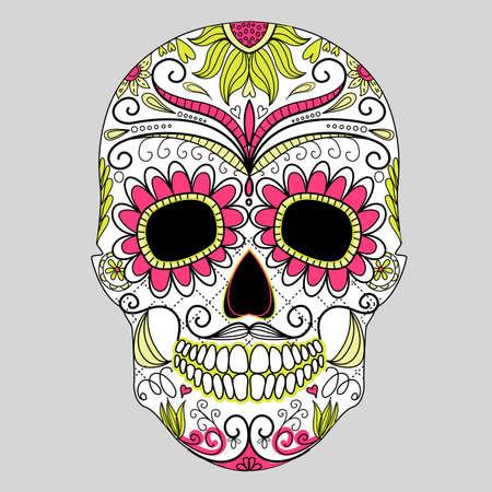 dia de muertos: D?a del cr?neo muerto colorido con el ornamento floral Vectores