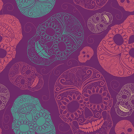 Seamless pink and purple background with skulls  Ilustração